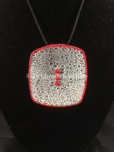 Lace cane Monochrome red dotted pendant